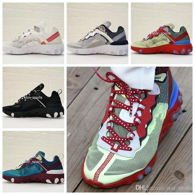 2018 Undercover x Upcoming React Element 87 Running Shoes For Men & Women, Top Quality Athletic Trainers Sport Sneakers Eur Size 36-44