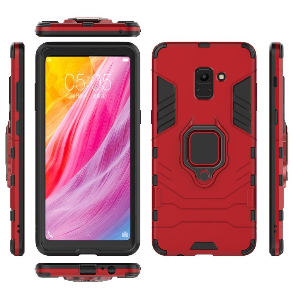 For Samsung Galaxy A8 2018 Case Car Holder Magnetic Suction Ring Bracket Anti-knock Armor Cover For Samsung A8 Plus 2018 Coque