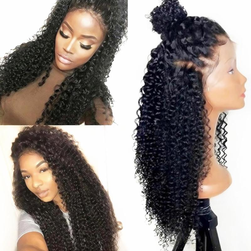 Luckystar High Quality Black Afro Kinky Curly Hair Wigs with Natural Hairline Heat Resistant Glueless Synthetic Lace Front Wigs for Women