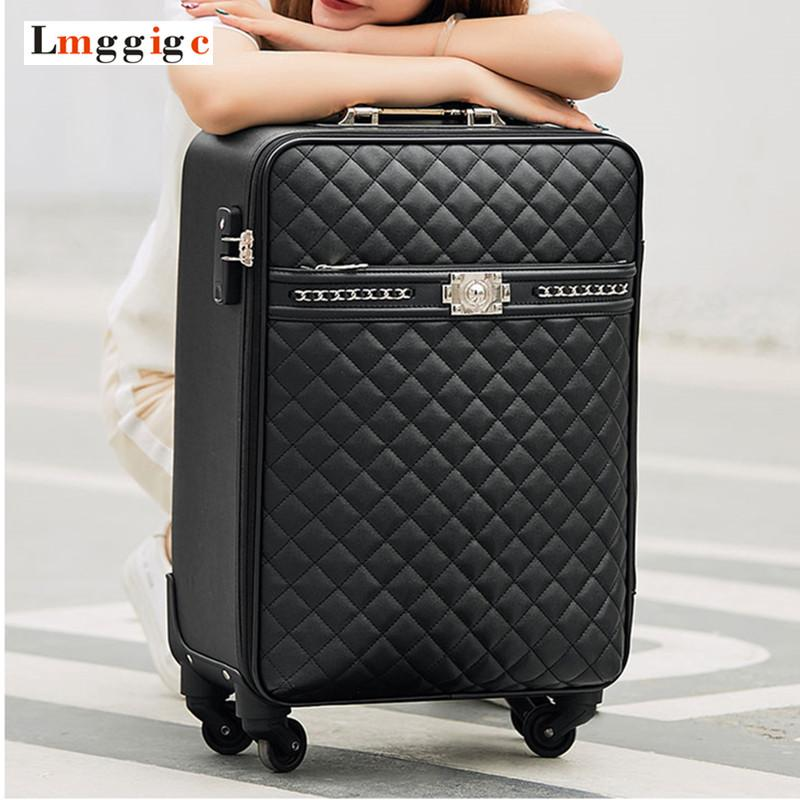 af6e81067f6b New Women s High-quality PU Leather Rolling Luggage Box Universal ...