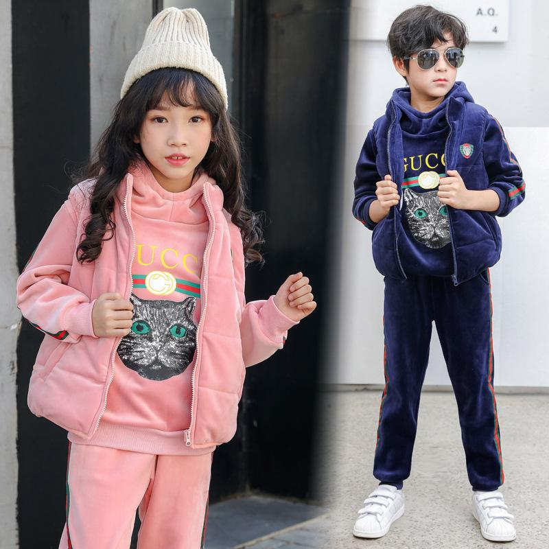 215c01d1d20 Children Thickening Plus Cashmere Three Piece Set 2018 New Pattern  Two-sided Iron Mine Suit In Large Child Kitty Printing Leisure Time