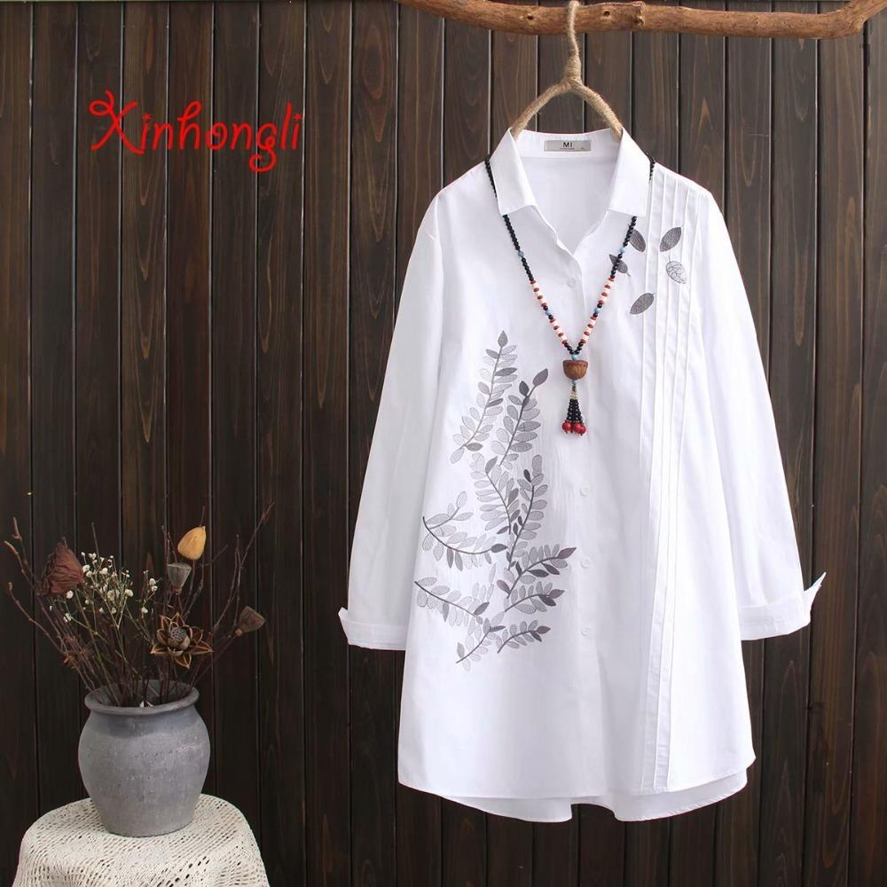 Plus Size Cotton Embroidery Women Allentato Camicie bianche lunghe 2019 Spring Autumn New Casual Ladies Camicetta Top femminile Oversize J190613