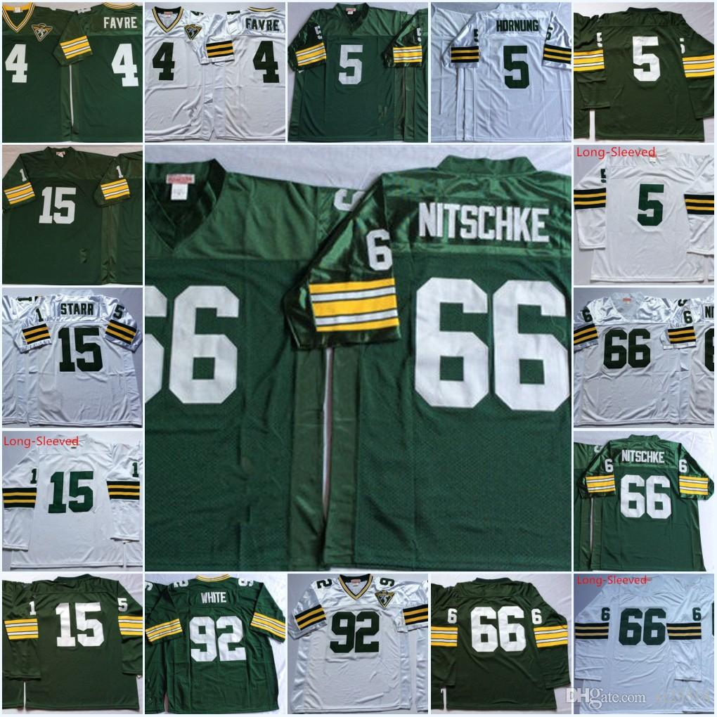 new concept e3e7d 2c73d Mens #4 Brett Favre Vintage Football Jersey Stitched #5 Paul Hornung #15  Bart Starr #66 Ray Nitschke #92 Reggie White Jersey S-3XL