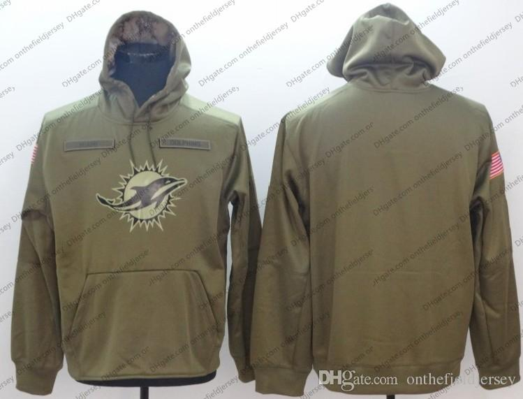 the latest 91127 943cc Men's Miami Sweatshirt Dolphins Hoodie 2018 Olive Salute to Service  Sideline Therma Performance Pullover Hoodie S-3XL