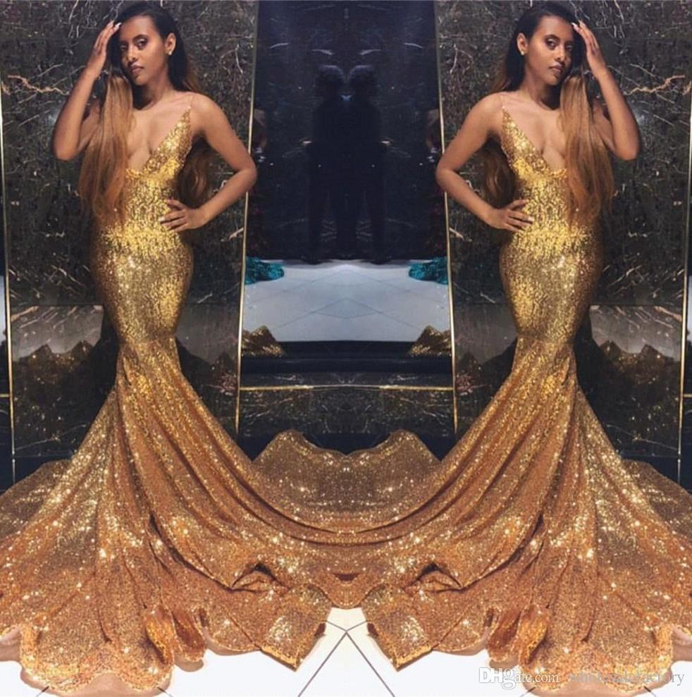 10192b0a13d 2019 Gold Spaghetti Straps Sequins Mermaid Long Prom Dresses Black Girls Backless  Sweep Train Formal Party Evening Gowns BC1492 Buy Prom Dresses Camille ...