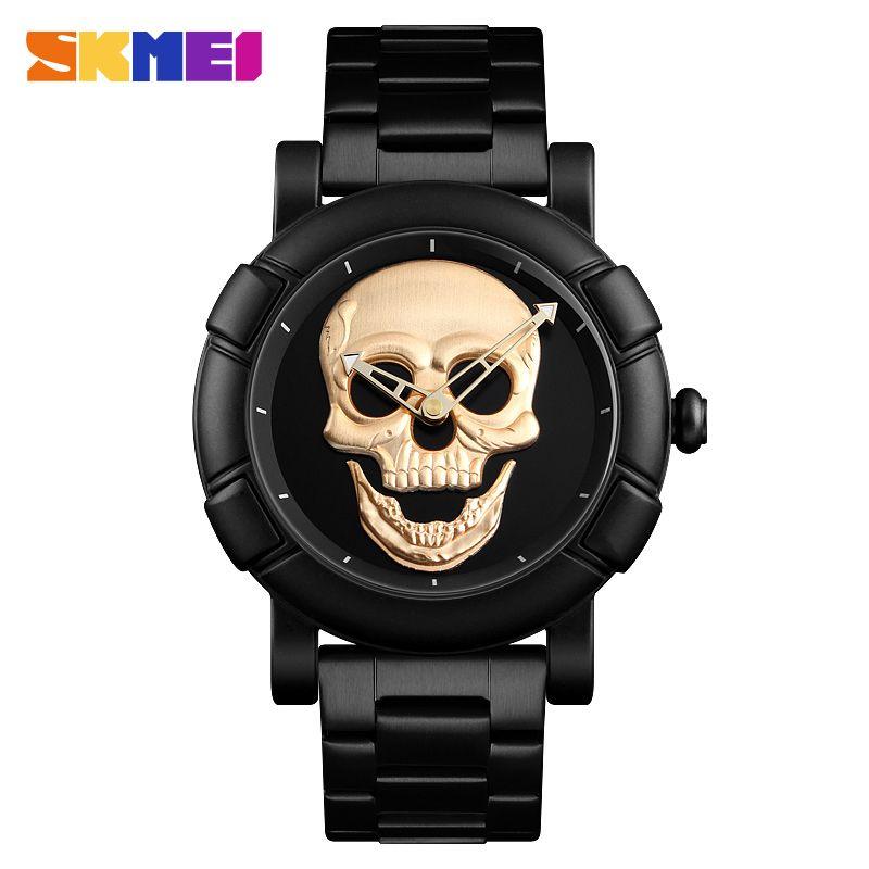098ae8fd41d 2018 New Fashion Skull Mens Gold Watches Watch Men Creative Watch  Waterproof Quartz Wristwatch Relogio Masculino SKMEI Clock Online Buy Watch  Buy Wrist ...
