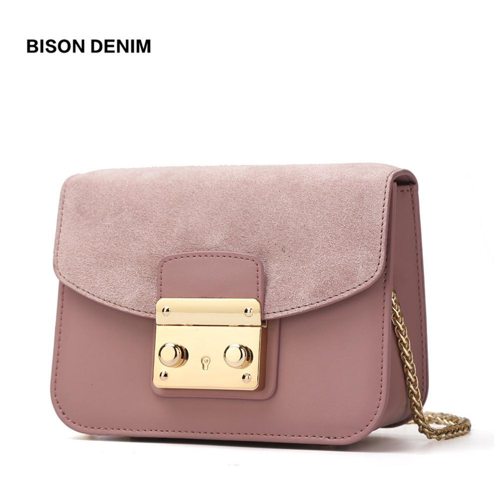 452b4ae6d4 BISON DENIM Women Shoulder Bag Cow Leather Crossbody Chain Block Women  Messenger Bags Detachable Cover Design Female Bags N1240 Y1892608 Crossbody  Purses ...