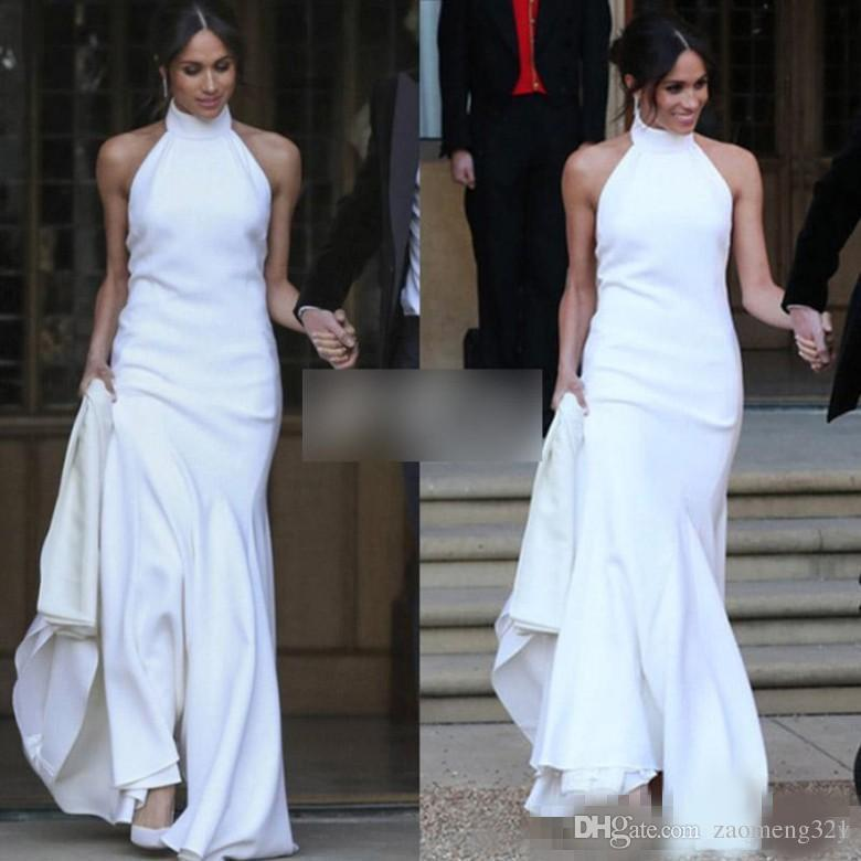 Elegant White Mermaid Wedding Dresses 2019 Prince Harry Meghan Markle Wedding party Gowns Halter Soft Satin Wedding Recept Dress