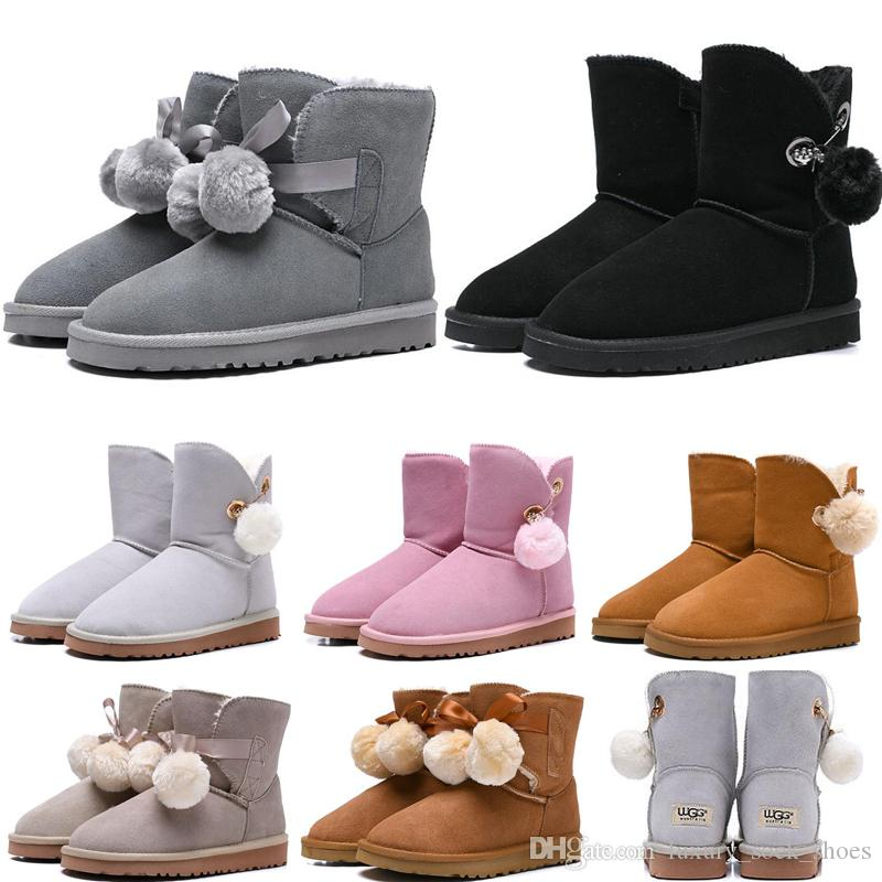 974aa787808 2019 New Fashion Australia Women Boots Classic snow Boots tall Bailey  Bowknot girl winter desinger Keep warm des chaussures size 36-41