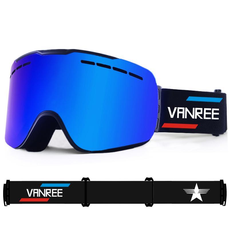094473eb41f7 VANREE Brand Ski Goggles Double Lens UV400 Anti-fog Skiing Eyewear ...