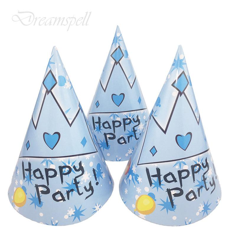 6pc/lot Blue Prince crown Cartoon hats birthday paper hats kids party caps Blue Prince crown Theme happy birthday party supplies