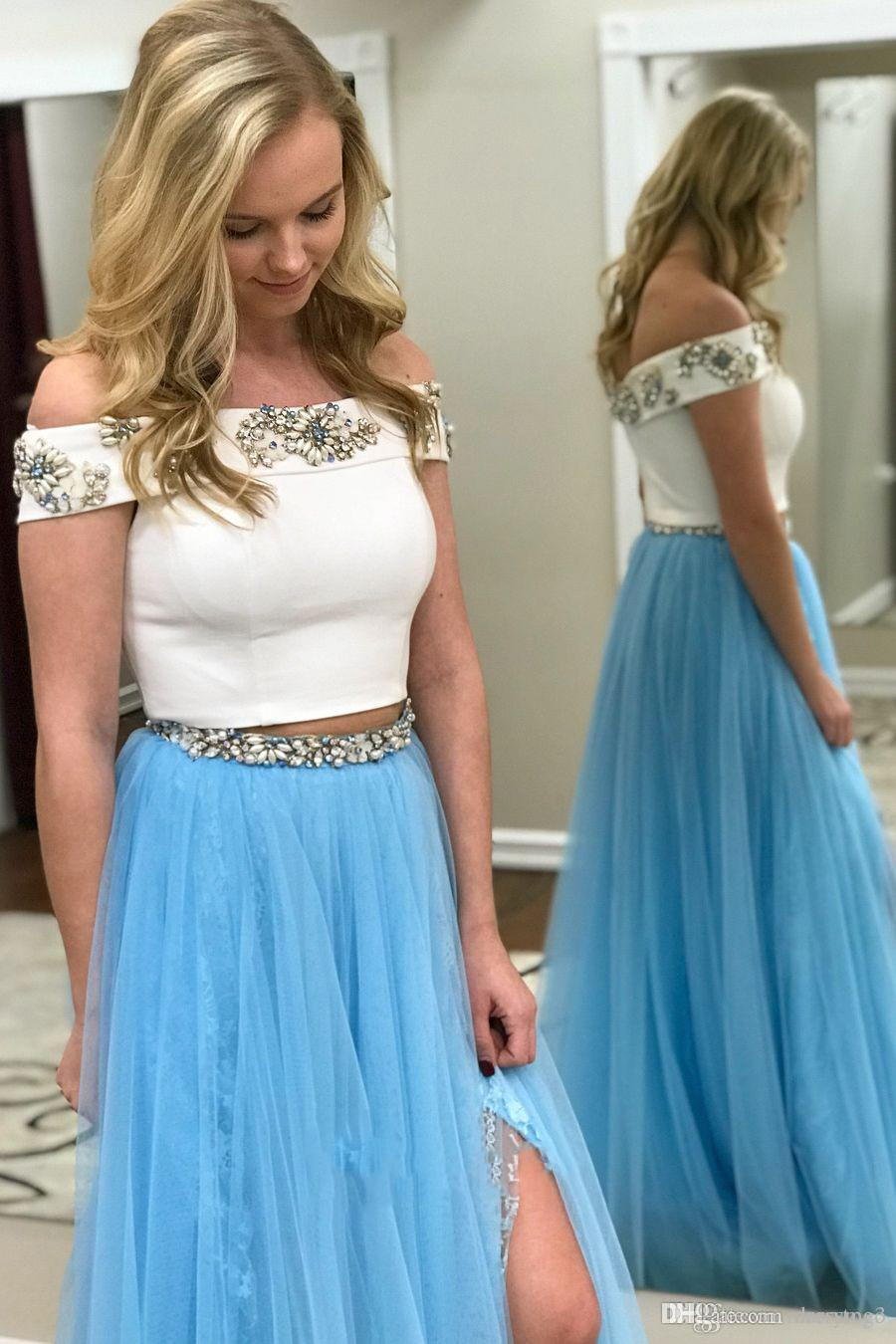 c580d36ec56 Two Pieces Prom Dresses 2019 A Line Off The Shoulder White Top Blue Skirt  Crystals Formal Special Occasion Dresses DP0340 Prom Stores Sequin Prom  Dresses ...