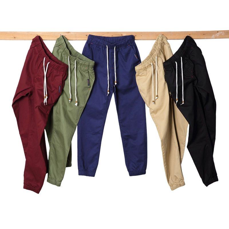 b9b60c1b M-5XL Khaki Jogger Pants Mens Joggers 2019 Spring Summer Men's Cuffed Chino  Joggers 100% Pure Cotton Long Trousers Plus Size