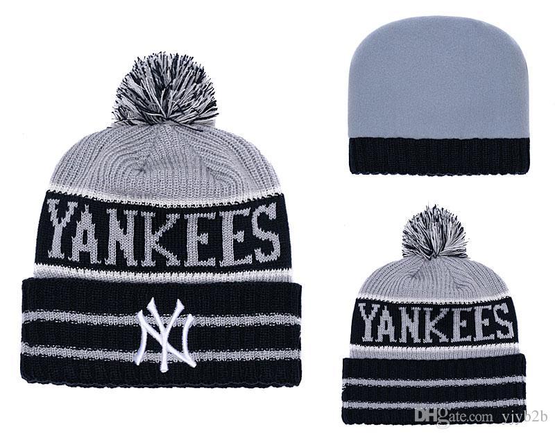 NEW Men S New York Yankees Knitted Cuffed Pom Beanie Hats Striped Sideline  Wool Warm Baseball Beanie Cap Men Women Bonnet Beanies Skull Baby Hat  Crochet ... 973deb69d1e