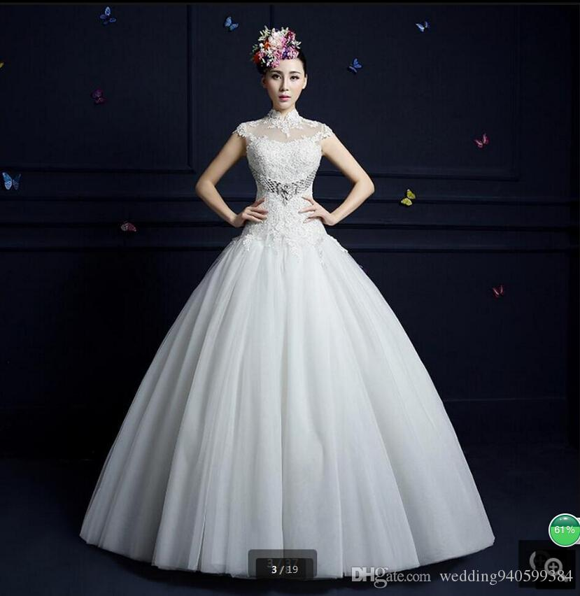 Robe de Mariage 2019 ball gown high neckline white lace wedding dress beaded crystals cap sleeve hollow back sexy bride gowns best selling