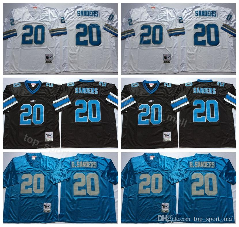 buy popular 073b1 e59d6 detroit lions 20 barry sanders black throwback jersey