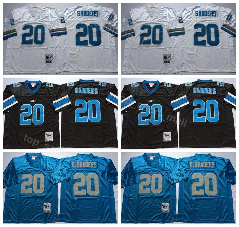 968a3d3d Detroit Lions 20 Barry Sanders Jersey Men Black Blue White Away Vintage  Sanders Football Jerseys American For Sport Fans Breathable