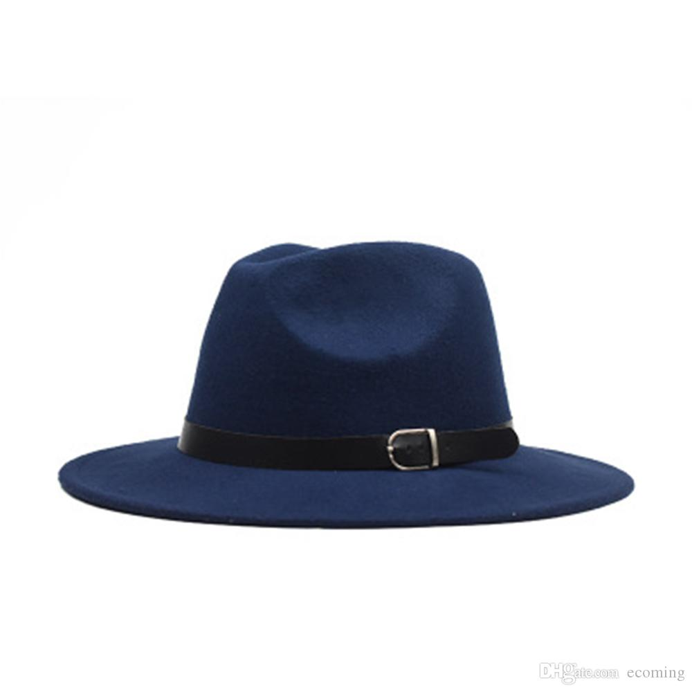 Korean Version of the Flat Woolen Hat Buckle Big Eaves Felt Flat Hat Wide Eaves Hat