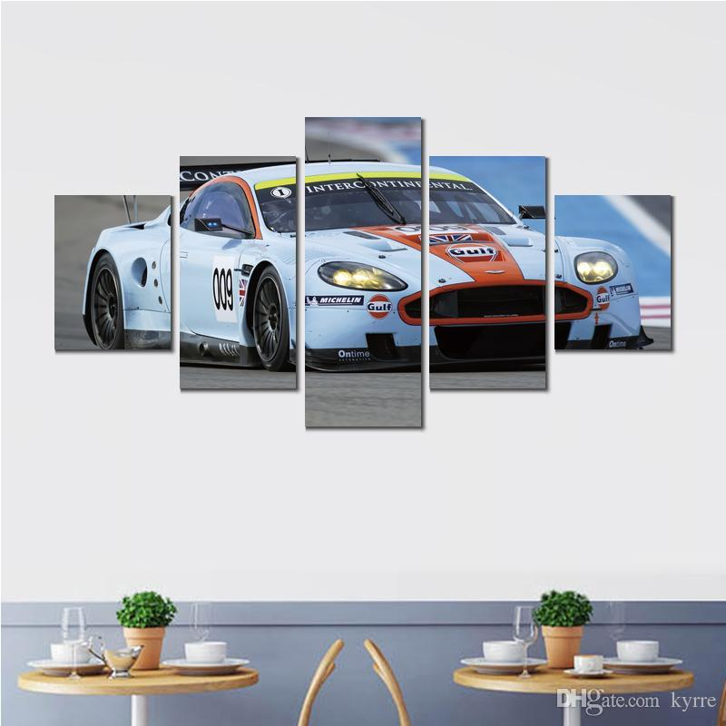 Canvas prints paintings aston martin dbr white racing car print wall pictures for room decor