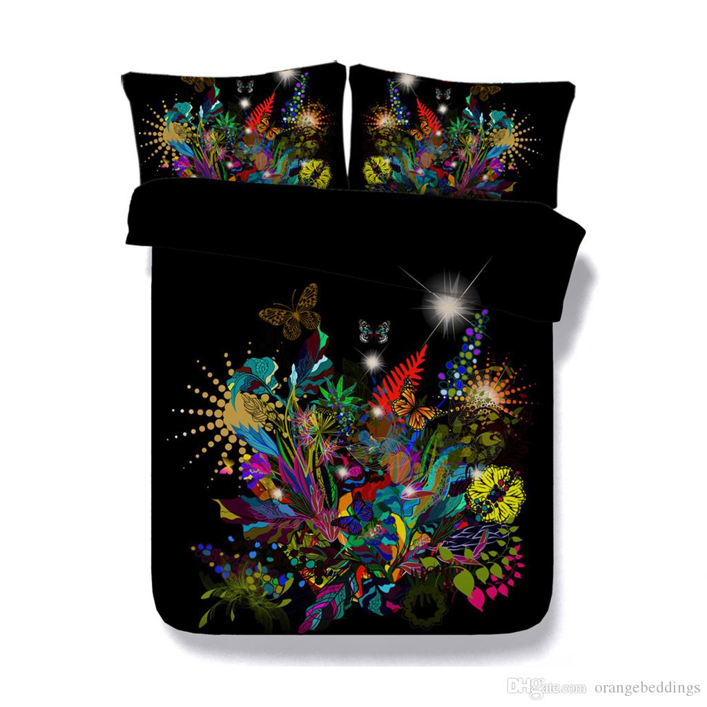 Floral Butterfly Leaves 3 Pieces Super Soft Duvet Cover Set With 2 Pillow Shams Girls Bedding Set Animal Design Black Green