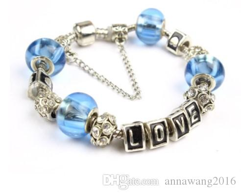 Christmas Style Charm Bracelets Shinning Blue 925 Murano Glass & Crystal European Charm Beads For Charm Bracelets Bangles DIY Jewelry