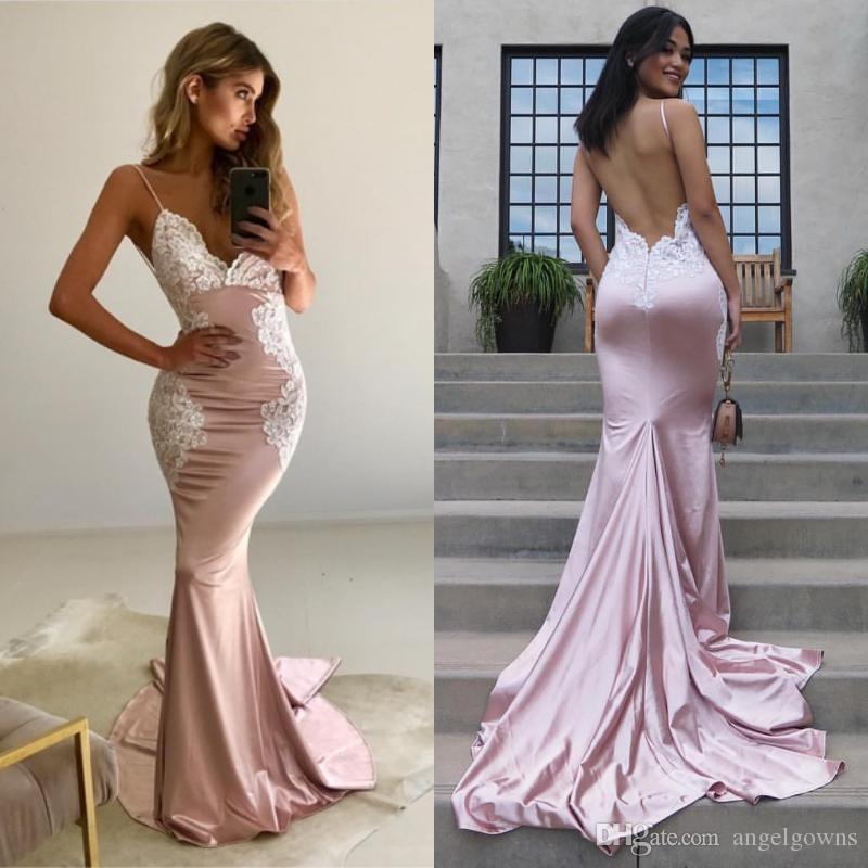 0344792b8c1 Sexy Backless Straps Mermaid Prom Dresses Pink And White Lace Appliques  Sweep Train Evening Gowns Cheap Bohemian Spaghetti Bridesmaid Dress Design  Your Own ...