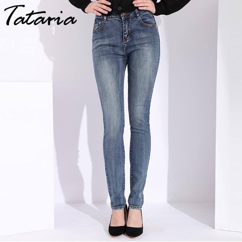 Tataria Skinny Slim Women Vintage Style Black Women's Female Denim Pencil Pants Stretch Korean Jeans For WomanMX190826