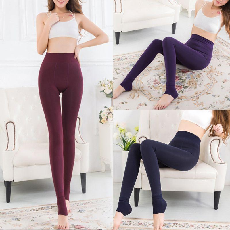 0a60e2da4 2019 Womens High Waist Stretchy Thicken Faux Fleece Lined Tights Warm Solid  Color Skinny Footless Push Up Slim Full Length From Red2015
