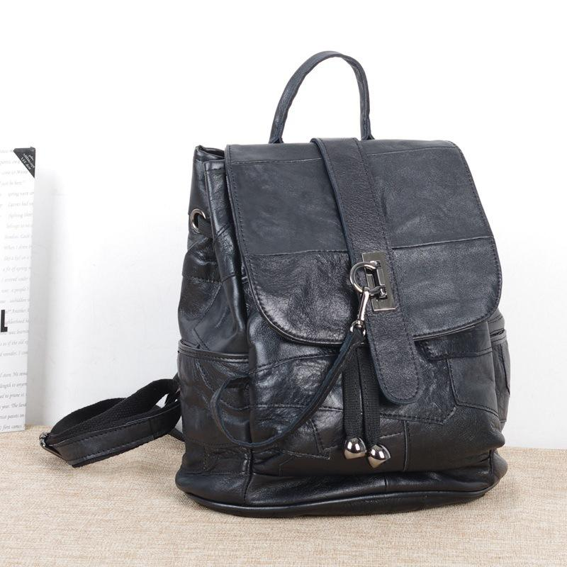 New women's college bookbag sheepskin commuter bag stitching retro black ladies backpack
