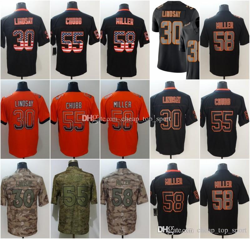 size 40 98c8d b99ff Bradley 55 Chubb Denver Jerseys Von 58 Miller Broncos 2018 USA Flag Lights  out Black Color Rush Drift Camo Salute to Service Olive Limited