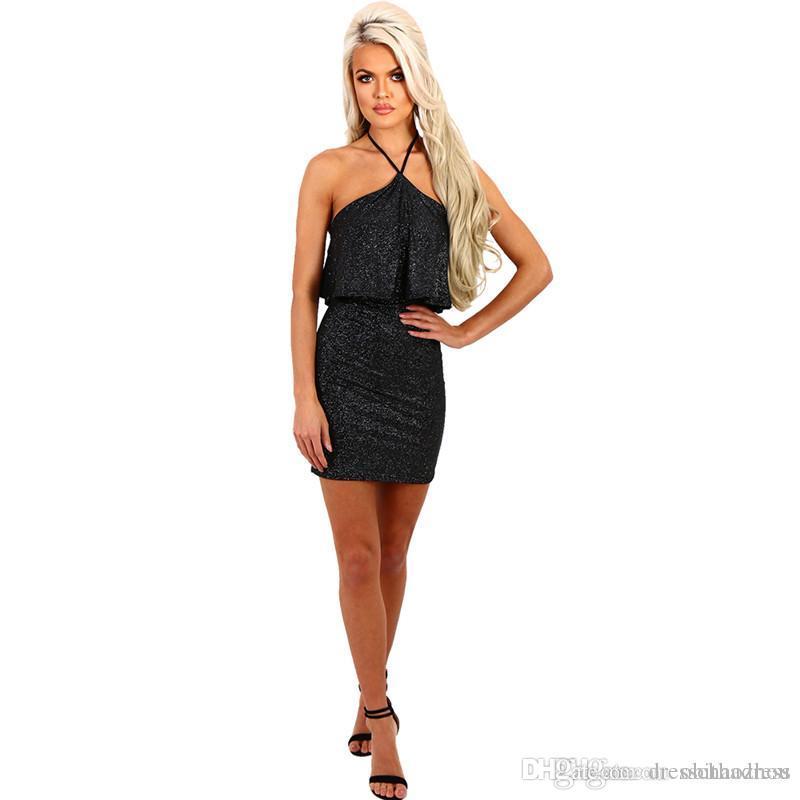 dd7a0e7e505b Hot Models Summer Sexy Halter Halter Slim Elastic Special Glitter Fabric  Dress Party Dress Graduation Dress Girls Party Dress Ladies Clothing Online  From ...