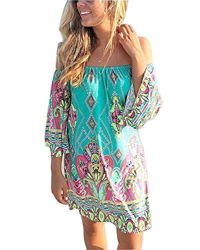 e458cd20e209 Choies Women S Off Shoulder Geo Paisly Print Flare Sleeve Shift Mini Beach  Dress Shift Dress Long Sleeve Dresses From Silan