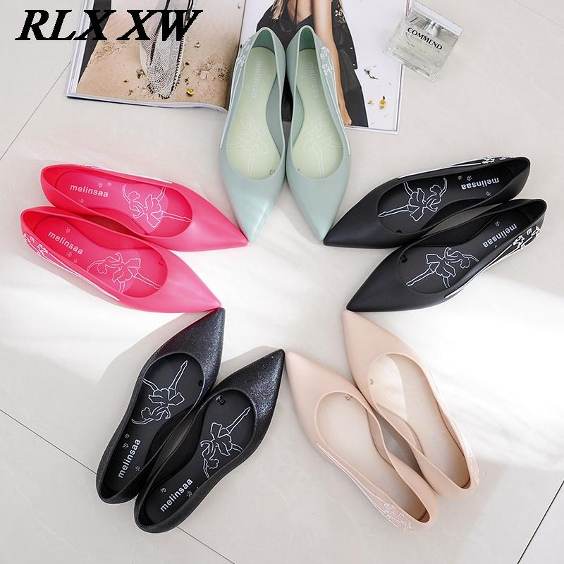 f7876c583ca28 Women Summer Shoes Woman Jelly Shoes Jelly Sandals Women Sandalie Ladies  Flats Sandals Raining Rubber pointed toe slip on