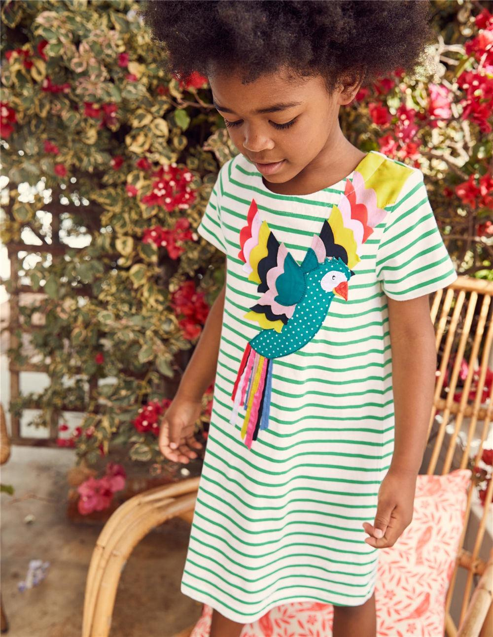 0ce90eae8cd Jumping Meters Girls Dress Green Bird Appliques 2019 Summer Short Sleeved  Girl Tunic Dresses Baby Girls Clothes Pattern Princess Vestidos Online with  ...