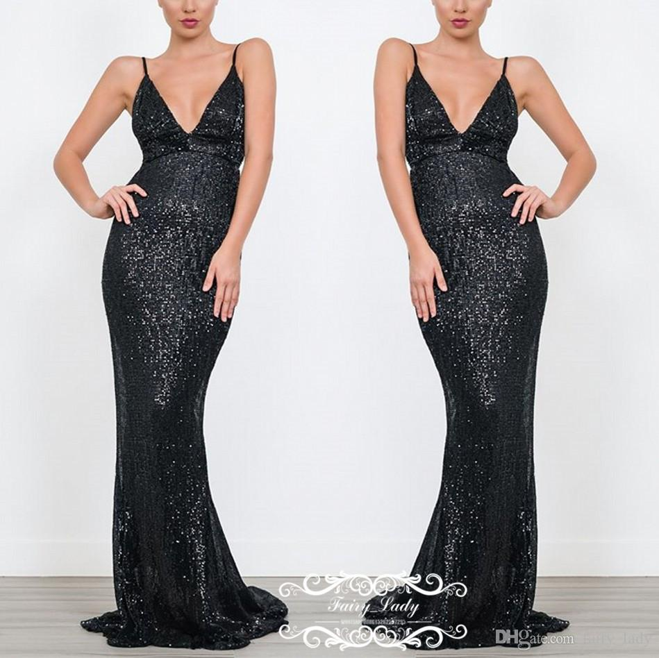 c42e135c02 Brilliant Black Sequined Mermaid Evening Dresses For Women Spaghetti Strap  2019 Robe De Soiree Long Prom Dress Party Gowns