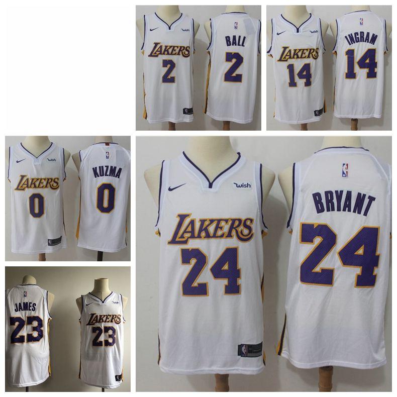 low priced 6c3ae 898d2 2019 23 LeBron James Laker Jersey The City Los Angeles Kobe 24 Lonzo 2 Ball  Kyle 0 Kuzma Brandon 14 Ingram White Basketball Jersey NEW Whit