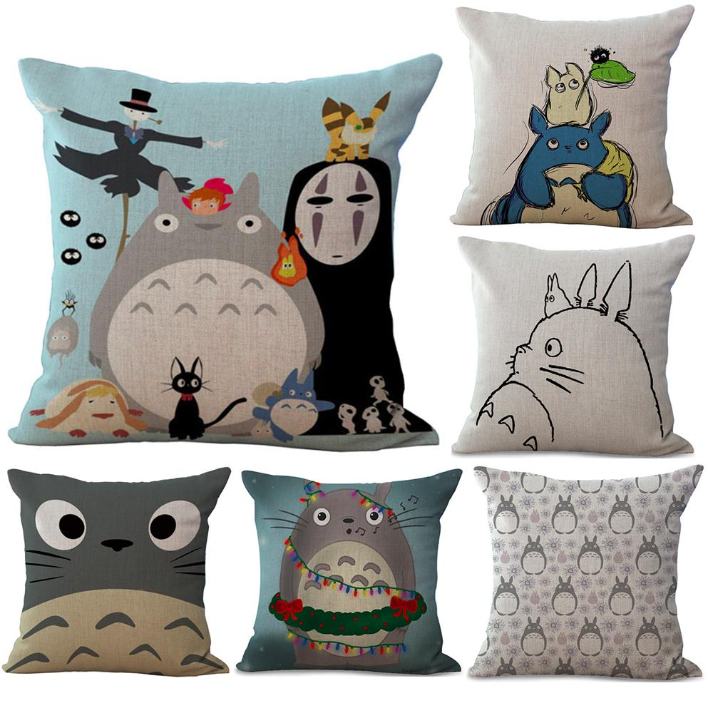 Hayao Miyazaki My Neighbour Totoro Neck Body Pillowcase Linen Bed Pillows Cover Couch Seat Cushion Throw Pillow Home Decoration