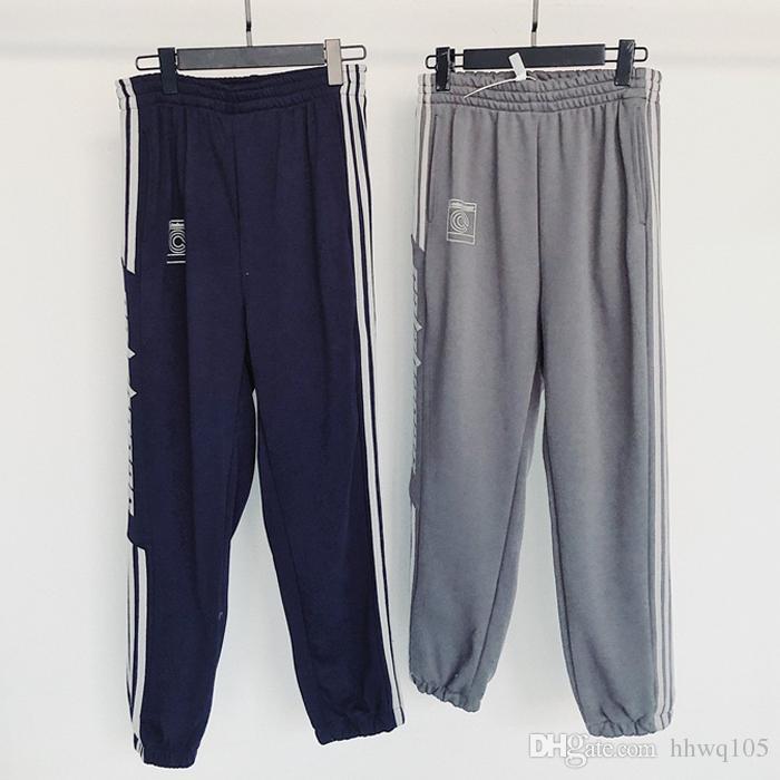 71a90926 Kanye West Calabasas Temporada 5 Pantalones de Pista Hombres Pantalones  Deportivos de Alta Calidad Lado Rayado Azul Marino Pantalones de Chándal ...