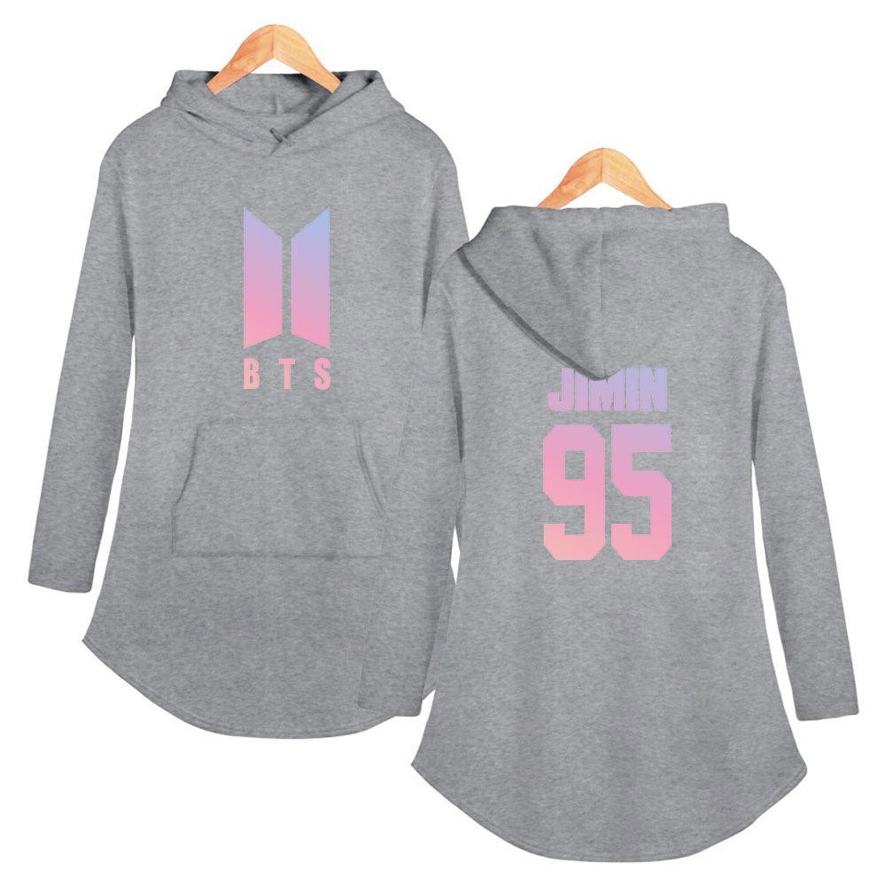 b3729d2916 Drop shopping ARMY BTS kpop lunga primavera autunno grigio con cappuccio  2019 donne con cappuccio felpe Plus Size bts lunga rosa pullover XXL