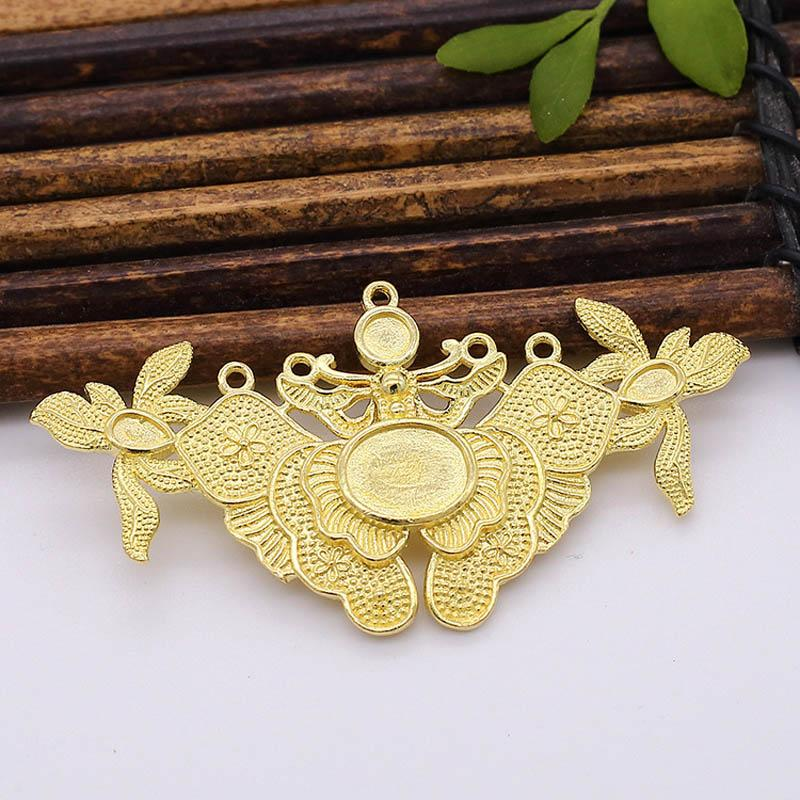 10pcs Brass Casting Flower Butterfly Connector Charms Pendant Oval Bezel Cameo Bases Women Hair Wedding Jewelry Accessories