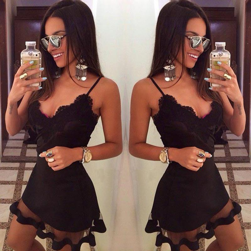 98b2166ce77 2019 Explosion Models Europe And America Sexy Black Lace Strap Dress Mesh  Stitching Nightclub Dress Dress Styles For Women Sundresses Sale From  Gao1382, ...
