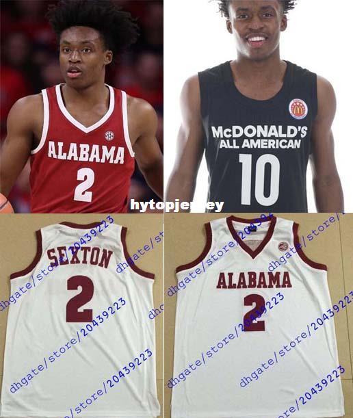 purchase cheap e1769 09332 Cheap Custom #2 Collin Sexton Jerseys Oklahoma Sooners Basketball Jersey  McDonald s ALL AMERICAN Mens White Claret Black Stitched NCAA