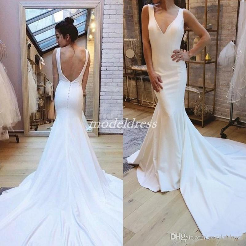 65d87af1fee9 Plain Ivory Mermaid Wedding Dresses 2019 V Neck Backless Sweep Train Simple  Garden Country Beach Bridal Gowns Vestido De Novia Cheap Cheap Lace Wedding  ...