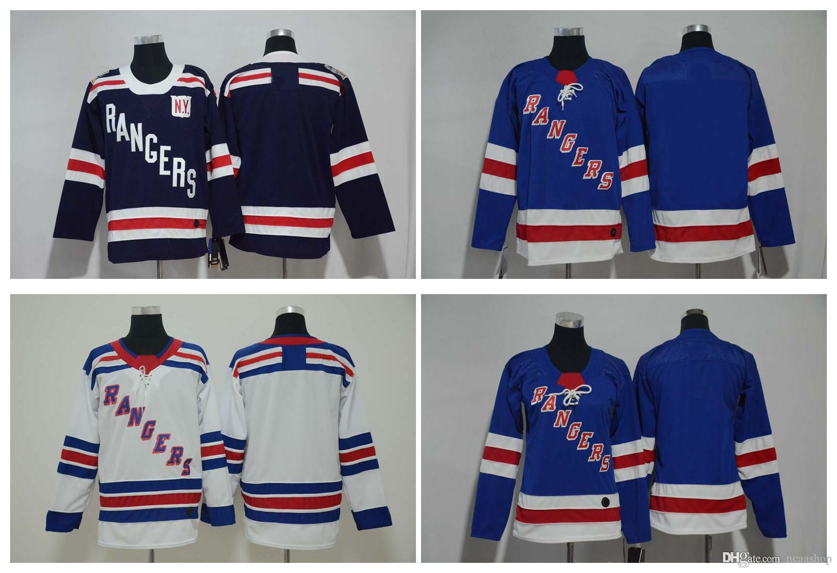 newest 769aa 6d38c 2019 Winter Classic New York Rangers Jersey Men Kids Women Blank No Name  Number White Blue Stitched Hockey Jersey