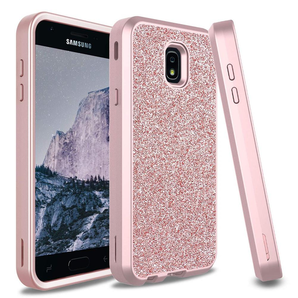 sports shoes a1ad2 63d07 For Samsung J7 2018 Case Luxury Women Bling Glitter Cover Heavy Duty Hybrid  Full-Body Protective Cover Defender Case For Samsung J7 Refine