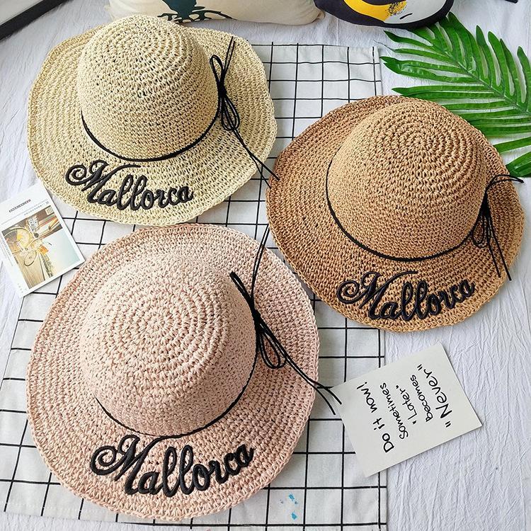 Compre 2019 Moda Verano Plegable Playa Bowknot Sombreros De Sol Para Las  Mujeres Diseño Bordado Carta Pajarita Sombrero De Ala De Sombrero De Ala A   26.85 ... 030cfbad664