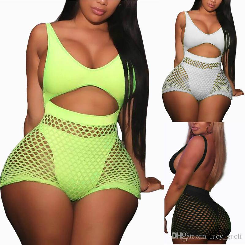 0461b2f398 2019 Fishnet Mesh Neon Swimsuit Two Pieces Swimwear High Waisted ...