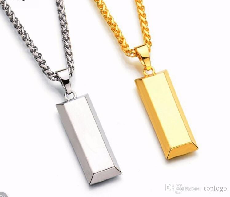 DJ classic Cube Bar Bullion Necklace & Pendant Gold Plated necklace Hiphop BRAND Dance Charm new york Chain men Jewelry man Gifts