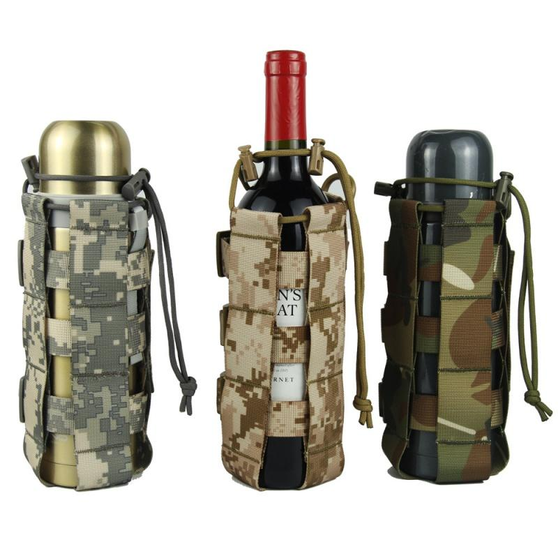 0.5L-2.5L Tactical Molle Water Bottle Pouch Nylon Canteen Cover Holster Outdoor Travel Kettle Bag