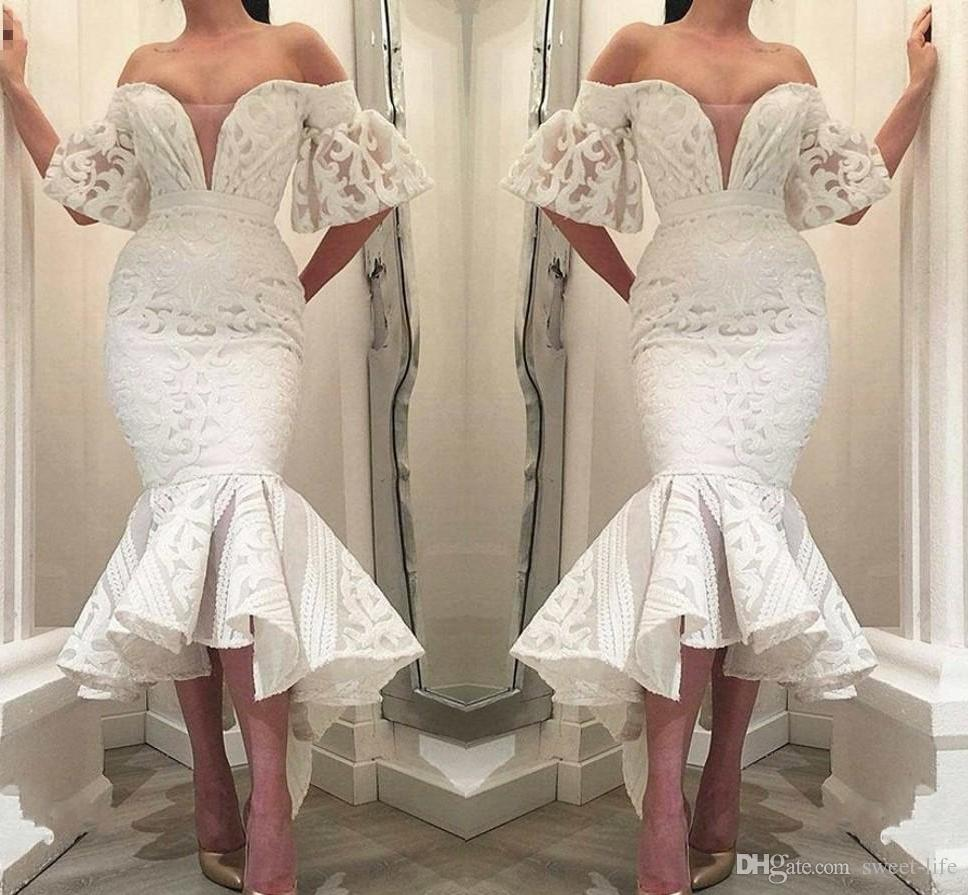 a70a8f967537 Gorgeous White Lace Mermaid Formal Evening Dresses 2019 Off Shoulder Ruffle  Tea Length Special Occasion Prom Party Gowns Arabic Vestido Prom Dress  Website ...